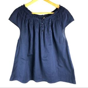 Talbots Plus Size Navy Peasant Top